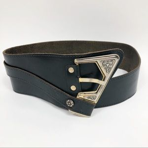 Vera Pelle Black Leather Biker Belt Vintage